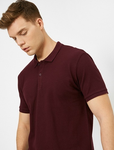 Koton Polo Yaka Kisa Kollu Slim Fit Basic T-Shirt Mor